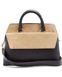 Diane von Furstenberg - Front Flap Satchel Large Leather And Suede Bag - Lyst