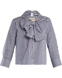 Khaite - Natalie Striped Bow-embellished Cotton Blouse - Lyst
