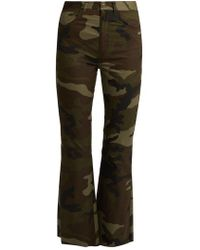 MM6 by Maison Martin Margiela - Camouflage-print Flared Cropped Cotton Trousers - Lyst