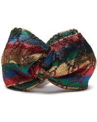 Gucci - Lux Logo Jacquard Lurex Turban Headband - Lyst