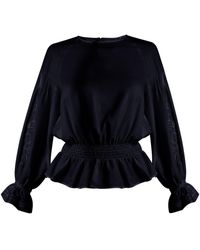 MUVEIL - Embroidered Sleeved Twill Blouse - Lyst