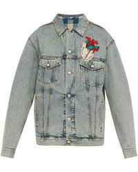 Gucci Heart Appliqué Oversized Denim Jacket