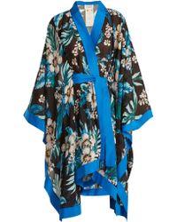 Diane von Furstenberg - Floral Print Cotton And Silk Blend Kimono - Lyst