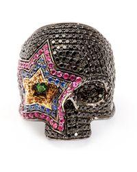 Lynn Ban - Cosmic Sapphire & Rhodium Plated Skull Ring - Lyst