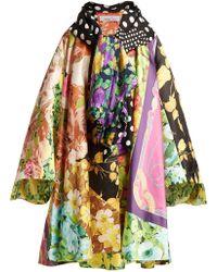 Richard Quinn - Floral And Vintage Scarf Print Satin Coat - Lyst