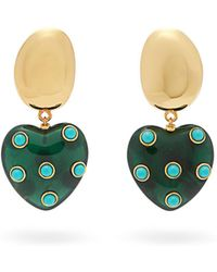 Lizzie Fortunato - Amore Resin-heart Turquoise Drop Earrings - Lyst