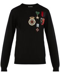 Dolce & Gabbana - Medal-embroidered Wool Jumper - Lyst