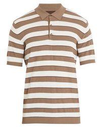 Altea - Striped Cotton-crepe Polo Shirt - Lyst