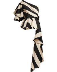 Johanna Ortiz - Asymmetric Striped Linen-blend Top - Lyst