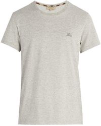 Burberry - Logo-embroidered Cotton T-shirt - Lyst
