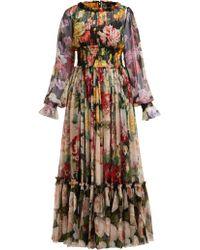Dolce & Gabbana - Rose And Hydrangea Print Silk Georgette Gown - Lyst