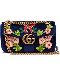 70ec9335b65 Gucci - Gg Marmont Embroidered Velvet Shoulder Bag - Lyst