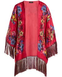 Etro - Kesa Floral Print Satin Kimono - Lyst