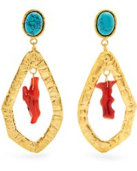 Sylvia Toledano - Corail Gold-plated Clip-on Drop Earrings - Lyst