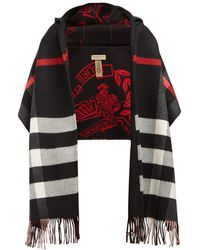 Burberry - Hooded Checked Intarsia Wool And Cashmere-blend Scarf - Lyst