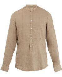Massimo Alba - Granddad-collar Linen Shirt - Lyst
