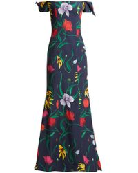 Carolina Herrera - Off The Shoulder Floral Print Faille Gown - Lyst