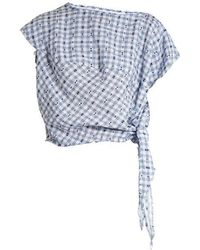 Vivienne Westwood Anglomania - Balloon Short-sleeved Gingham Blouse - Lyst
