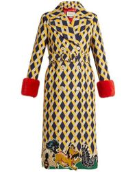Gucci - Geometric-print Fur-trimmed Wool-blend Coat - Lyst