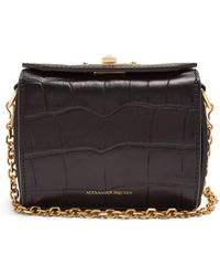 Alexander McQueen - Box Nano Crocodile-effect Leather Bag - Lyst