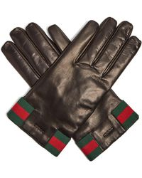 Gucci - Web Striped Leather Gloves - Lyst
