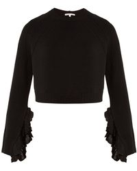 Helmut Lang - Ruffle-trimmed Wool And Cashmere-blend Jumper - Lyst
