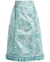 The Vampire's Wife - Cate Leaf-jacquard Ruffle-trimmed Skirt - Lyst
