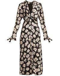 Proenza Schouler - Floral-print V-neck Silk-crepe Midi Dress - Lyst