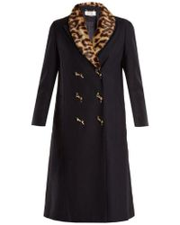 MUVEIL - Double-breasted Leopard-print Collar Woven Coat - Lyst