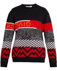 Givenchy - Patterned Intarsia Wool Blend Sweater - Lyst