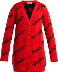 Balenciaga - Logo Jacquard Virgin Wool Blend Cardigan - Lyst