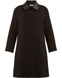 RED Valentino - Single Breasted Embellished Overcoat - Lyst