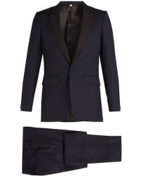 Burberry - Contrast Lapel Single Breasted Wool Tuxedo - Lyst
