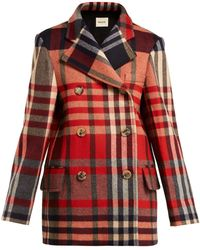 Khaite - Clara Double Breasted Checked Wool Blend Coat - Lyst