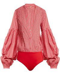 Johanna Ortiz - Jicarilla Gingham Cotton-blend And Stretch-jersey Bodysuit - Lyst