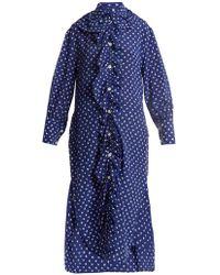 Marni - Ruffled-placket Fleck-print Silk Shirtdress - Lyst