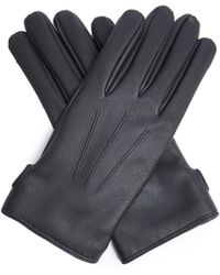 Lanvin - Topstitched Grained-leather Gloves - Lyst