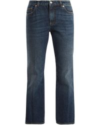 Alexander McQueen - Mid Rise Cropped Kick Flare Jeans - Lyst