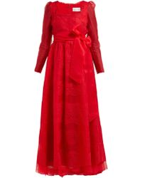 Valentino - Chantilly Lace Trimmed Silk Organza Gown - Lyst