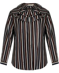 Nina Ricci - Striped Exaggerated-collar Silk Top - Lyst