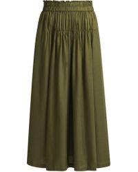 Apiece Apart - Elin Ruched Midi Skirt - Lyst