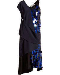 Diane von Furstenberg - Embellished Asymmetric V-neck Silk Dress - Lyst