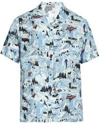Lanvin - Printed Short Sleeved Poplin Shirt - Lyst