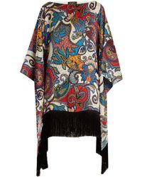 Etro - Graphic Paisley-print Fringe-trimmed Silk Top - Lyst