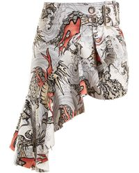 Marques'Almeida - Dragon Print Asymmetric Cotton Skirt - Lyst