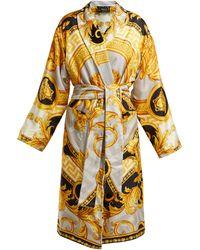 Versace - La Coupe Des Dieux Baroque-print Silk Robe - Lyst