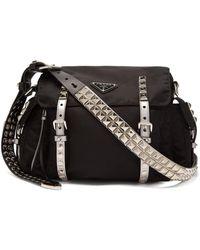 Prada - New Vela Leather Trimmed Cross-body Bag - Lyst