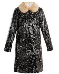 Shrimps - Hokus Doodle-embroidered Faux-leather Coat - Lyst