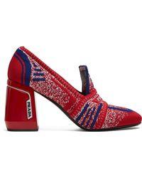 Prada - Knit Fabric Loafers - Lyst