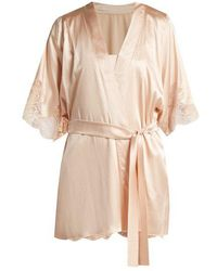 Fleur Of England - Lace Trimmed Silk Blend Kimono - Lyst